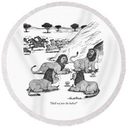 Shall We Join The Ladies? Round Beach Towel by J.B. Handelsman