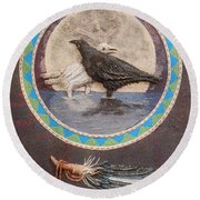 Shaman Black Raven And His Mate Medicine Woman Blue Fairy Animal Spirit Medicine Wheel Round Beach Towel