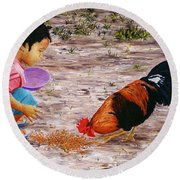 Shamika Round Beach Towel by Victor Collector