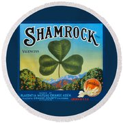 Shamrock Crate Label Round Beach Towel