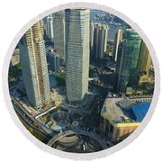Shanghai From Above Round Beach Towel