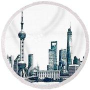 Shanghai Skyline Round Beach Towel