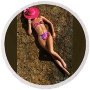 Shannon Pink Hat Round Beach Towel