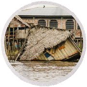 Shanty Town Disaster Round Beach Towel