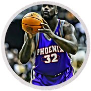 Shaquille O'neal Round Beach Towel by Florian Rodarte