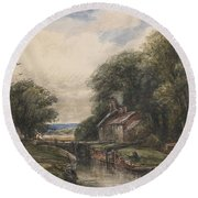 Shardlow Lock With The Lock Keepers Cottage Round Beach Towel