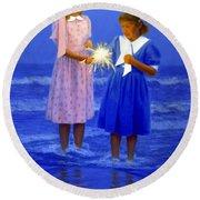 Sharing A Sparkler  Round Beach Towel