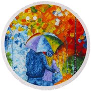 Sharing Love On A Rainy Evening Original Palette Knife Painting Round Beach Towel