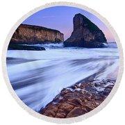 Shark Fin Tide - Santa Cruz California Round Beach Towel by Jamie Pham