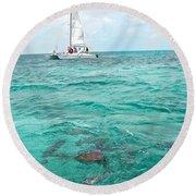 Shark N Sail I Round Beach Towel