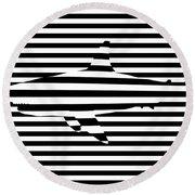 Shark Optical Illusion Round Beach Towel by Pixel Chimp