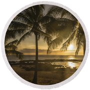 Sharks Cove Sunset 2 - Oahu Hawaii Round Beach Towel