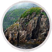 Sharp Jagged Rocks  Round Beach Towel