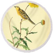 Sharp-tailed Bunting Round Beach Towel by Philip Ralley