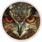 Sharpie Owl Round Beach Towel by Ayse Deniz
