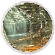 Shawnee Falls At Ricketts Glen Round Beach Towel