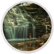Shawnee Falls In The Spring Round Beach Towel