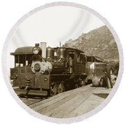 Shay No. 498 At The Summit Of Mt. Tamalpais Marin Co California Circa 1902 Round Beach Towel