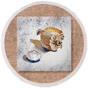 She Sells Sea Shells Decorative Collage Round Beach Towel