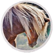 She Tossed Her Mane - Wild Pony Of Assateague Round Beach Towel