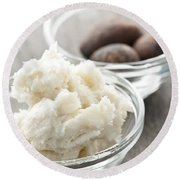 Shea Butter And Nuts In Bowls Round Beach Towel