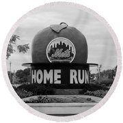 Shea Stadium Home Run Apple In Black And White Round Beach Towel by Rob Hans