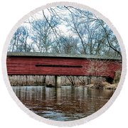 Sheeder - Hall - Covered Bridge Chester County Pa Round Beach Towel