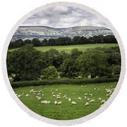 Sheep And More Sheep Round Beach Towel