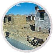 Sheep And Shepherd Along The Road To Shigatse-tibet Round Beach Towel