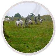 Sheep And Stones At Avebury Round Beach Towel