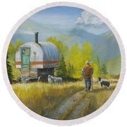 Sheep Camp Round Beach Towel