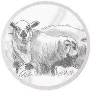 Sheep Drawing Round Beach Towel