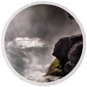 Sheep Falls Mist Round Beach Towel