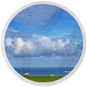 Sheep Grazing On The North Yorkshire Round Beach Towel