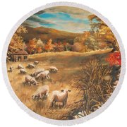 Sheep In October's Field Round Beach Towel