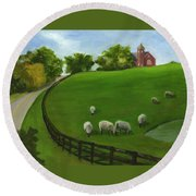 Sheep May Safely Graze Round Beach Towel