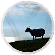 Sheep Silhouetted In Scotland Round Beach Towel