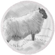 Sheep Sketch Round Beach Towel