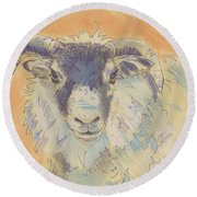 Sheep With Horns Round Beach Towel