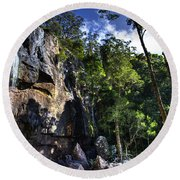 Sheer Cliff With Waterfall Round Beach Towel