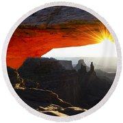 Sheer Magic Mesa Arch Utah Round Beach Towel