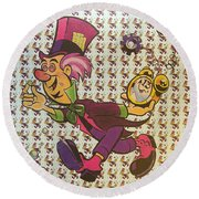 Sheet Of Mad Hatter Blotter Acid Round Beach Towel by Science Source