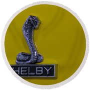 Shelby Gt350 Emblem On Yellow Round Beach Towel