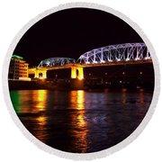 Shelby Street Bridge At Night Round Beach Towel by Dan Sproul