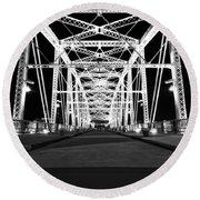 Shelby Street Bridge At Night In Nashville Round Beach Towel