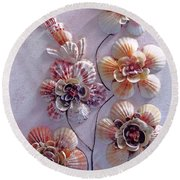 Shell Flowers  No 1  Round Beach Towel