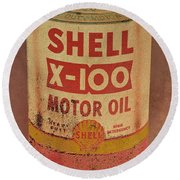 Shell Motor Oil Round Beach Towel by Michelle Calkins