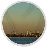 Shell Refinery Round Beach Towel