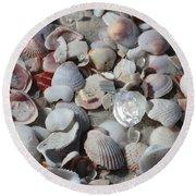 Shells On Treasure Island Round Beach Towel by Carol Groenen
