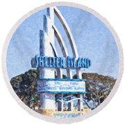 Shelter Island Sign San Diego California Usa Round Beach Towel